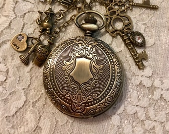 Pendant, Charm, Pocket Watch Necklace, Steampunk Style.  Antique Bronze Tone.