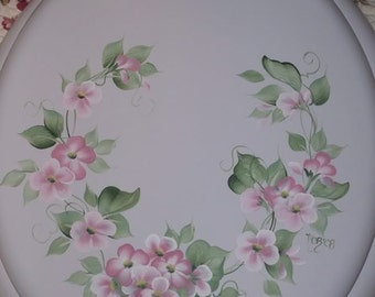 NEW* Round wood TOILET SEAT, Hand Painted, Pink Blossom, Cottage Floral,  Bathroom decor, Victorian, French Country, Powder Room