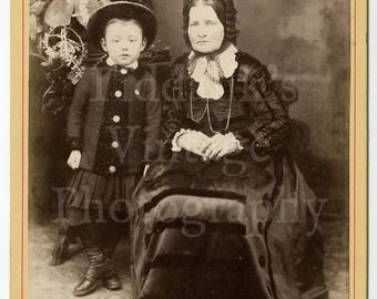 Cabinet Card Photo - Victorian Cute Young Boy in Hat & Skirt with Grandmother Portrait - W P Booth of Worksop England - Antique Photograph