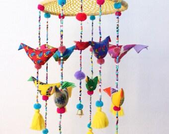 Bird Crib Hanging, Bird Crib Mobile, Bird Mobile, Baby Nursery Mobile, Crochet Nursery, Baby Shower Gift, Baby Cot Mobile, Crib Tassels