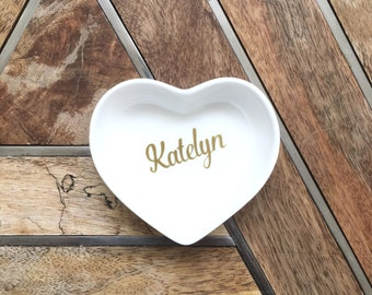 Heart Jewelry Dish ~ Name Jewelry Dish ~ Custom Jewelry Dish ~ Heart Ring Dish ~ Custom Ring Dish