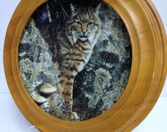 Vintage Carl Brenders Forest Sentinel: Bobcat Our Woodland Friends Series Collector Plate Oak Framed Plate Bradford Collection Fine China