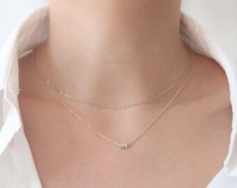 Baguette Diamond Necklace, Diamond Solitaire Necklace, Solid Gold Necklace, 14K Diamond Necklace
