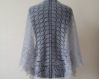 Knitted mohair silk grey shawl, Evening shawl wrap, Lace knit shawl, Knitting shawl, Wedding shawl, Knit Grey shawl, Gift for women