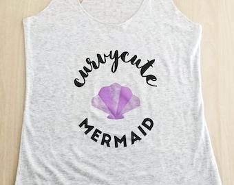 Curvycute Mermaid Racerback Tank / Womens Clothing