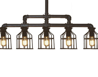 5 Pendant Black Caged Row | Island Restaurant Ceiling Lights | Caged Black Iron Edison Fixture