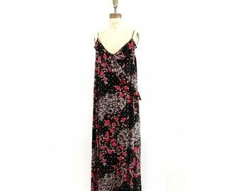 Floral Maxi Dress Vintage Maxi Dress Boho Maxi Dress Plus Size Maxi Dress Black Floral Dress 1990s 20s Style Maxi Dress L / XL to plus 20