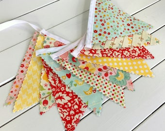 Bunting Banner,Nursery Decor,Garland,Photography Prop,Birthday Decoration,Home Decor,Flowers,Floral,Birds,Pink,Red,Yellow,The Sweetest Thing
