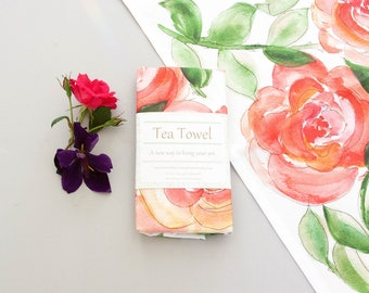 Floral Tea towel, hand painted watercolor art, original art print, home decor, housewarming gift, teacher gift, gift for her, Kitchen decor