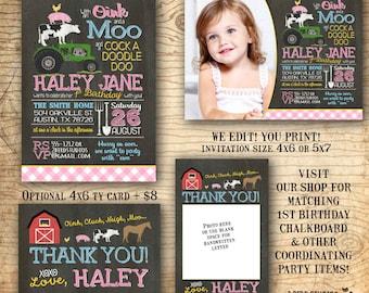 Farm birthday invitation - Barnyard birthday invitation - girls Farm animal birthday invite - Barnyard party invitation - we edit, You print