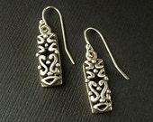 Vintage STERLING Silver Byzantine Drop EARRINGS, Scrollwork Filigree French Earwires Pierced Ears, Sister Girlfriend Gift for Her