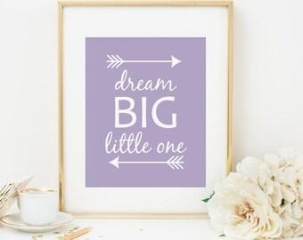 Dream Big Little One Printable Nursery Quote Prints Lavender Nursery Decor Tribal Arrows Purple Nursery Wall Art Tribal Decor Native Decor