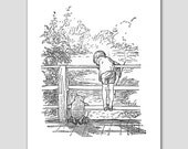 Black and White Nursery Art Print (Classic Winnie the Pooh Baby Shower, Pooh Sticks Game)
