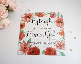 Will you be our Flower girl Proposal card Flower girl puzzle card Be my Bridesmaid invitation