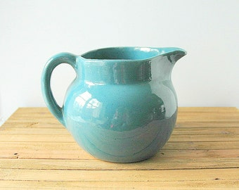 Bybee Pottery Blue Green Teal Water Pitcher Ball Shape Glossy Glaze Vintage Kentucky Pottery