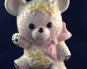 ON SALE Vintage Teddy Bear Planter Dish Nursery Decor