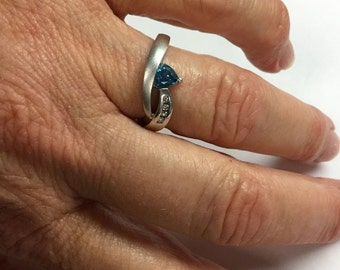 Gorgeous 10k White Gold Diamond Blue Topaz Ring December Birthstone