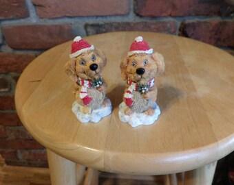 Christmas dog figurine, Tom Bowers Snow Flurries dog figurine, 1996 Christmas Figurine, Christmas dog, Stocking Stuffers
