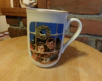 Norman Rockwell Christmas Cup-High Hopes-1985-Norman Rockwell Museum, artist mug