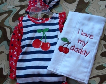 Cherry outfit with matching burp cloth