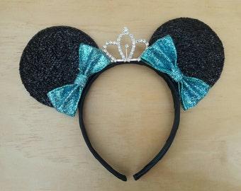 Blue Bow Minnie Ears