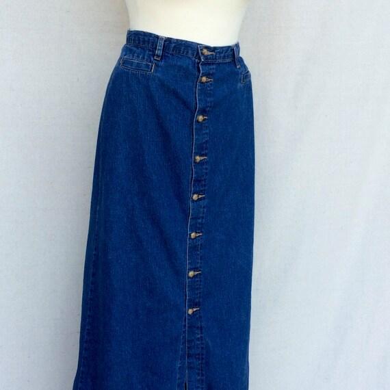 80s denim skirt button front denim midi blue jean high