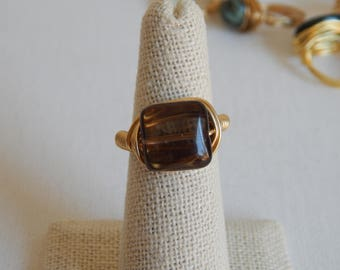 Gold wire wrapped smokey quartz ring, boho style, everyday ring, festival chic jewelry, gold wire, neutral, square shape gemstone