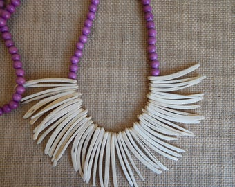 Coconut wood bib necklace, beach chic, layering necklace, summer fashion, purple and white necklace, white wood tusks, bib necklace