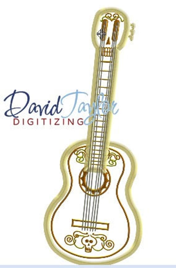 Coco guitar embroidery design 5x7 6x10 in 9 formats for Descargar embroidery office design 7 5 full