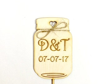 Mason Jar cake topper - rustic wedding cake topper engraved initials and date