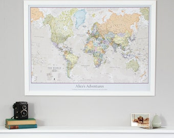 Huge classic world map vintage elegant home decor home personalised classic world map pinboard gift vintage personalised gift for him gumiabroncs Image collections