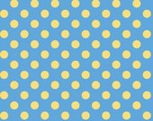 Little One Flannel Too! Dots fabric in Yellow on Blue fat quarters and yardage by Kimberbell Designs for Maywood Fabric