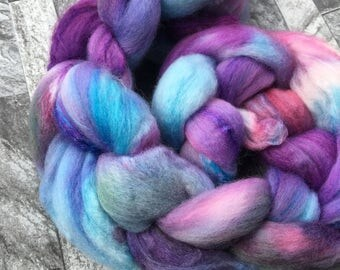 Iridescent - Hand Dyed Merino Silk Braid Roving Spinning Fibre - 50g - Spinning Weaving Felting