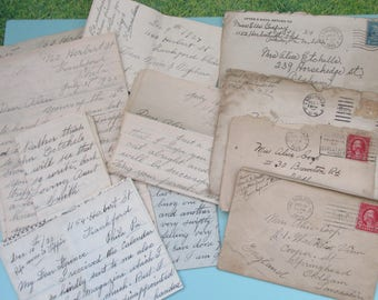 Bundle of Vintage 1920s-1940s  Handwritten Personal Letters ~ Letters from Aunt in USA to Alice in UK