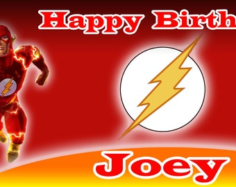 Birthday banner Personalized 4ft x 2 ft  Flash