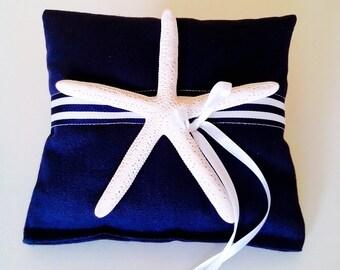 Starfish Ring Bearer Pillow - Beach Wedding ring Pillow - Nautical ring pillow-beach ring cushion-navy blue ring pillow -coastal wedding