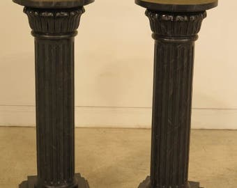 41899E: Pair Italian Faux Marble Decorated Pedestal Stands