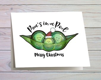 christmas card, peas in a pod, 3 peas, family card, fun christmas card, greeting card, quirky card, new family, family of 3 card