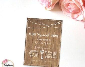 Rustic Housewarming Party - Housewarming Invitation - Wood Background with Lights - Printable Invitation - Digital Invitation - BEST SELLER