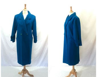 Vintage Double Breasted Wool Coat Large / pleated vintage 70s with pockets teal blue winter coat