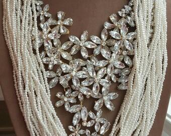 Multistrand pearl and rhinestone statement necklace, bib necklace,boho jewelry,large statement necklace,multilayer pearl necklace, statement