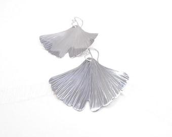 Ginkgo leaf stainless earrings, ginkgo earrings, big leaf pendants, ginkgo jewelry, art nouveau jewelry, elvish earrings, fairy earrings