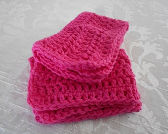 "Set of Two Hand Crocheted Pink Washcloth,Dishcloth, Facecloth 11"" by 7"" ( One Price Buys Two)"