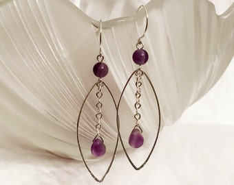 Amethyst sterling silver earrings handmade with sterling silver wire