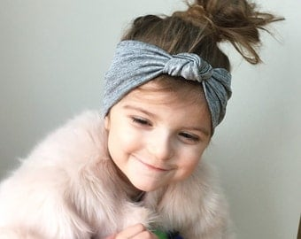 Metallic grey and silver headband / baby knot headband / toddler head wrap / knotted headband / toddler turban headband / jersey