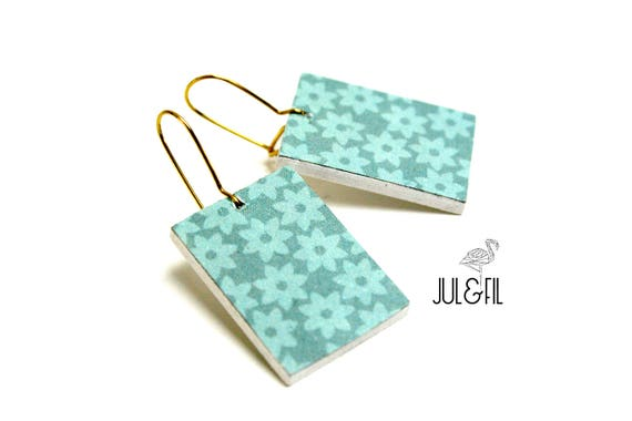 Graphic Blue celadon and turquoise flowers wood stud earrings, brass