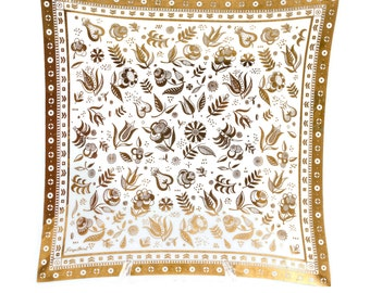 Georges Briard Persian Garden Gold and White Glass Tray