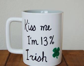 Kiss Me I'm Irish Mug St Patrick's Day Irish DNA Ancestry