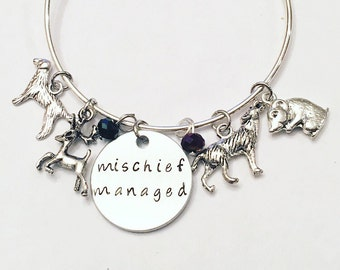 Mischief Managed Harry Potter Mauraders Map Moony Padfoot Wormtail Prongs Sirius Black Remus Lupin Adjustable Bangle Charm Bracelet