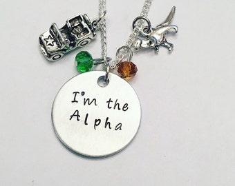 I'm the Alpha Jurassic World Chris Pratt Jurassic Park Dinosaur Inspired Charm Necklace